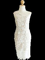 ชุดเดรสออกงานสีขาว ไหล่เฉียง เข้ารูป : สินค้าพร้อมส่ง