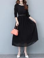 ชุดเดรสยาวสีดำ แขนห้าส่วน ผ้าชีฟอง สไตล์สาวเรียบร้อย สวยหวาน ดูดี