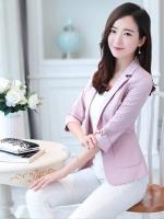 เสื้อสูททำงานผู้หญิงสีชมพู คอปก ทรงเข้ารูป กระเป๋าหน้า : สินค้าพร้อมส่ง