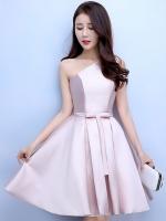 ชุดออกงานสีชมพู ไหล่เฉียง กระโปรงทรงบาน สวยหรู น่ารัก สไตล์เจ้าหญิง