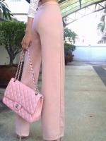 กางเกงขายาวสีชมพูกะปิ ทรงกระบอก ผ้าฮานาโกะ เอวสูง