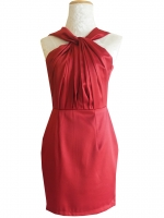 ชุดออกงานสั้นสีแดง คอจีบ ทรงเข้ารูป แนวเรียบๆ สวย น่ารัก : สินค้าพร้อมส่ง