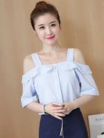 เสื้อแฟชั่นเกาหลีสีฟ้า เว้าไหล่ สวยๆ น่ารัก ดูดี สไตล์เกาหลี