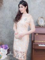 ชุดออกงานสั้นสีทอง ลูกไม้ two tone ทรงเข้ารูปสวยหรู สไตล์ผู้ใหญ่