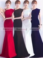 ชุดราตรียาว ไหล่เฉียงข้างแต่งระบาย เข้ารูป ลุคเรียบหรู สวยดูดี ( สินค้าพร้อมส่ง : สีแดง น้ำเงินกรมท่า ขาว ดำ : S M L XL )