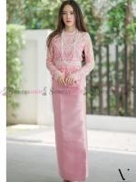 ชุดออกงานไทยประยุกต์สีชมพู เซ็ทเสื้อลูกไม้ + กระโปรงยาว ทรงสวย งดงามอย่างไทย ด้วยชุดไทยประยุกต์ ฉีกกฎชุดไทยแบบเดิมๆไป ให้ไม่ซ้ำซาก แถมยังเรียบหรูดูดี