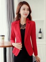 เสื้อสูททำงานผู้หญิงสีแดง คอปก ทรงเข้ารูป แขนยาว ( สินค้าพร้อมส่ง )