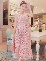 ชุดออกงานลูกไม้สายเดี่ยวสีชมพู แนวเรียบหรู สวยสง่า ใส่ออกงาน ไปงานแต่งงาน งานบายเนียร์ งานเลี้ยง