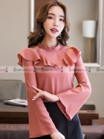 เสื้อแฟชั่นเกาหลีสีชมพูกะปิเข้ม แขนยาว คอแต่งระบายสวยเก๋ น่ารักๆ ( สินค้าพร้อมส่ง S M L XL )