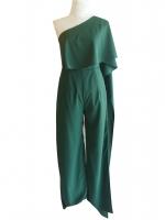 ชุดจั๊มสูทกางเกงขายาวสีเขียว ไหล่เฉียงสไบข้าง : สินค้าพร้อมส่ง S M L