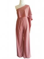 ชุดจั๊มสูทกางเกงขายาวสีชมพูเข้ม ไหล่เฉียงสไบข้าง : สินค้าพร้อมส่ง S M L