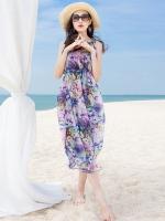 ชุดเดรสเที่ยวทะเลสีม่วงพิมพ์ลายดอกไม้ แขนกุด สวยๆ น่ารัก สไตล์โบฮีเมียน
