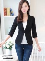 เสื้อสูททำงานผู้หญิงสีดำ ทรงเข้ารูป คอปก แขนยาว ทรงสวย ( สินค้าพร้อมส่ง )