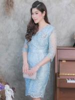 ชุดเดรสออกงานสีฟ้า ผ้าไหมแก้วปักลูกไม้ ทรงเข้ารูป แขนสามส่วน ลุคสวยหรู สง่า ดูดี สำหรับใส่ออกงาน ไปงานแต่งงาน