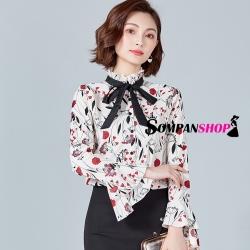 เสื้อเชิ้ตผู้หญิงทำงานสีขาว ลายดอกไม้ แขนยาว สวยเก่ สดใส