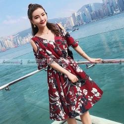 ชุดเดรสสั้นใส่เที่ยวทะเลสีแดง คอวี กระโปรงบาน ( สินค้าพร้อมส่ง : S M L XL 2XL )