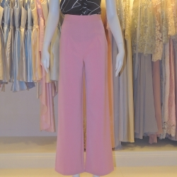 กางเกงขายาวสีชมพู ทรงกระบอก ผ้าฮานาโกะ เอวสูง แมทช์กับเสื้อแบบไหนก็สวย ใส่ทำงาน ใส่เที่ยว ใส่ออกงาน