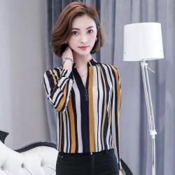 เสื้อเชิ้ตผู้หญิงทำงานสีเหลือง ลายทาง แขนยาว