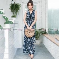 ชุดเดรสยาวสีน้ำเงินกรมท่าลายดอกไม้ แขนกุด ทรงสวย สไตล์สวยหวาน น่ารักๆ ( สินค้าพร้อมส่ง )