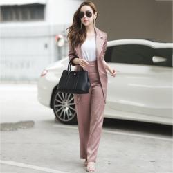 ชุดสูทสวยๆสไตล์สาวออฟฟิศสีน้ำตาล เซ็ท 2 ชิ้น เสื้อสูท + กางเกงขายาว