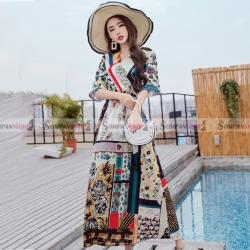 ชุดเดรสยาวเที่ยวทะเล พิมพ์ลายโบฮีเมียน สวยเก๋ สุดน่ารัก ( สินค้าพร้อมส่ง : S M L )
