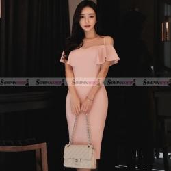 ชุดเดรสออกงานสีชมพู คอกลม แขนเว้าไหล่แต่งระบายน่ารักๆ : สินค้าพร้อมส่ง S M L XL