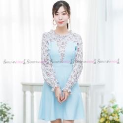 ชุดเดรสสั้นสีฟ้า แต่งลายดอกไม้ สวยหวาน น่ารักๆ ใส่ทำงาน ใส่เที่ยวได้ : สินค้าพร้อมส่ง FreeSize