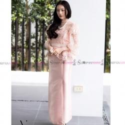 ชุดออกงานไทยประยุกต์สีชมพูกะปิ เซ็ทเสื้อลูกไม้ + กระโปรงยาว