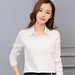 เสื้อเชิ้ตผู้หญิงทำงานสีขาว แขนยาว