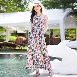 ชุดจั๊มสูทกางเกงขายาวลายดอกไม้สีสันสดใส
