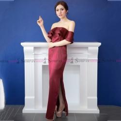 ชุดเดรสออกงาน/ไปงานแต่งงานสีแดง เปิดไหล่แต่งระบาย กระโปรงยาวผ่าหน้า สไตล์เรียบหรู สวยๆ ดูดี ( สินค้าพร้อมส่ง )