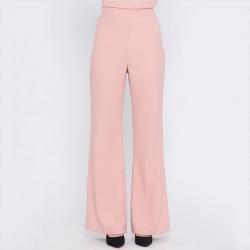 กางเกงขายาวสีโอรส ทรงกระบอก ผ้าฮานาโกะ เอวสูง