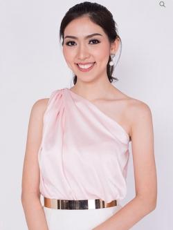เสื้อออกงานสีชมพู ไหล่เฉียง แขนกุด ผ้าซิลค์ซาติน