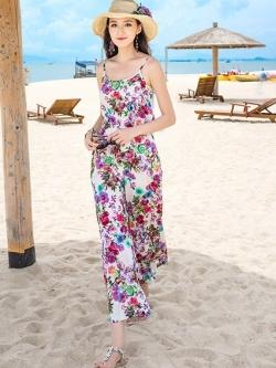 ชุดจั๊มสูทกางเกงขายาวลายดอกไม้ สวยหวาน น่ารัก