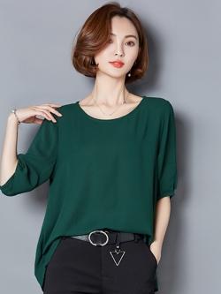 เสื้อทำงานสีเขียว ทรงปล่อย แขนสั้น