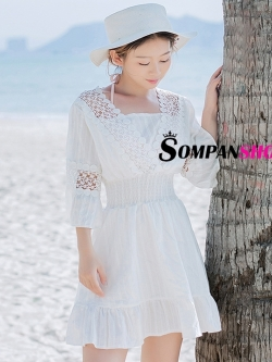 ชุดเดรสสั้นสีขาวใส่เที่ยวทะเล แขนสี่ส่วน สวยเก๋ น่ารักๆ