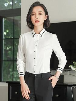 เสื้อเชิ้ตทำงานผู้หญิงสีขาว แขนยาว