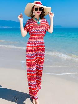 ชุดเดรสยาวเที่ยวทะเลสีแดง พิมพ์ลายสวยๆ สวยเก๋ สไตล์โบฮีเมียน