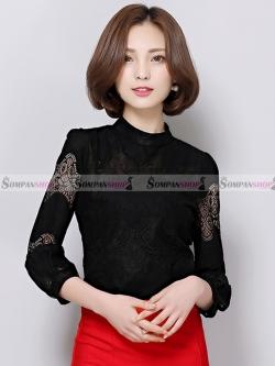 เสื้อลูกไม้สีดำ แขนยาว ทรงเข้ารูป ลุคเรียบๆ สวยดูดี ใส่ทำงานได้ ( สินค้าพร้อมส่ง M L XL XXL )