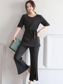 ชุดเซ็ท 2 ชิ้นสีดำ เสื้อ + กางเกงขายาว แนวสวยเท่ ดูดี สไตล์เกาหลี