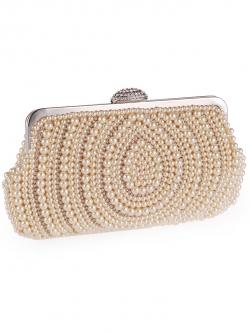 กระเป๋าคลัทช์ออกงานสีครีมทอง แต่งมุกทั้งใบ ลุคสวยสง่า หรูหรา สำหรับถือออกงานกลางคืน ไปงานแต่งงาน