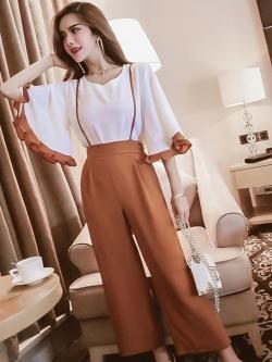 ชุดเซ็ทเสื้อ-ชุดจั๊ทสูทกางเกงสายเดี่ยวสีน้ำตาล