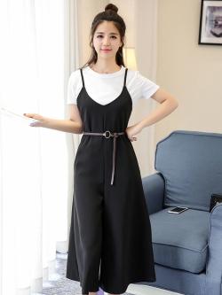 ชุดเฮี้ยมกางเกงขายาวสี่ส่วนสีดำ ทรงขาบาน แบ๊วๆ สไตล์เกาหลี ใส่กี่ทีก็สวย