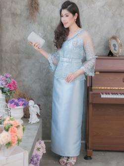 ชุดเดรสออกงานยาวสีฟ้า เซ็ท2ชิ้น เสื้อผ้าลูกไม้ กระโปรงผ้าถุงยาวผ้าไหมอิตาลี