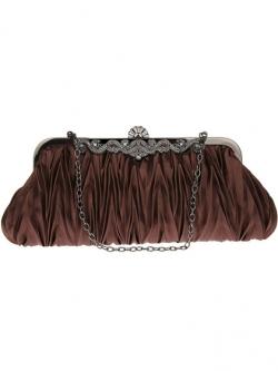 กระเป๋าคลัทช์ออกงานสีน้ำตาล ทรงสีเหลี่ยมผืนผ้า จับจีบ ถือออกงาน ไปงานแต่งงาน ลุคเรียบๆ สวยเก๋ น่ารัก