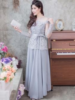 ชุดเดรสออกงานยาวสีเทา แขนยาวแต่งลูกไม้ แนวเรียบหรู สวยสง่า สไตล์ผู้ใหญ่ ใส่ไปงานแต่งงาน ชุดถือขันหมาก ชุดแม่บ่าวสาว
