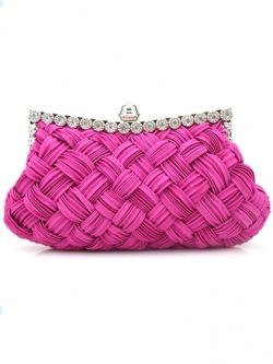 กระเป๋าคลัทช์ออกงานสีชมพูบานเย็น ทรงสีเหลี่ยมผืนผ้า ถือออกงาน ไปงานงานแต่งงาน ลุคสวยหรู ดูดีสุดๆ