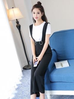 ชุดเฮี้ยมกางเกงขายาวสี่ส่วนสีดำ น่ารักใสๆ ใส่เมื่อไหร่ก็คิวท์!!