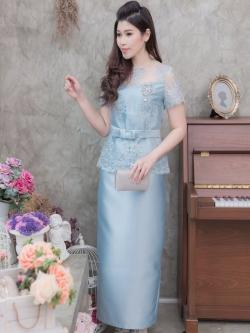 ชุดเดรสออกงานยาวสีฟ้า เซ็ทเสื้อลูกไม้งานปักดิ้น+กระโปรงยาว สไตล์ผู้ใหญ่ เรียบหรู ดูดี สวยสง่าสมวัย