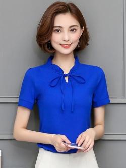 เสื้อทำงานสีน้ำเงิน แขนสั้น คอจีบ